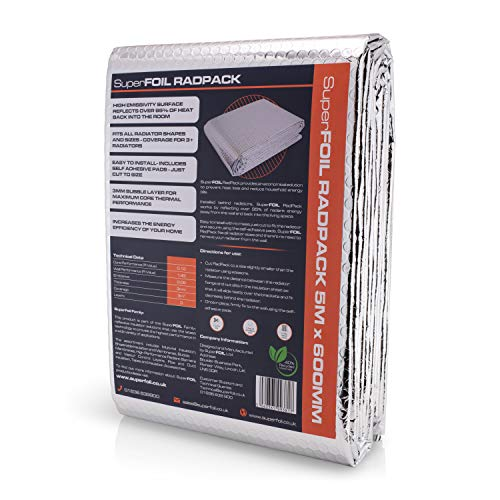SuperFOIL RadPack - Hochleistungs-Heizkörper-Isolierfolie (5m x 60cm) - 3mm wärmereflektierende Reflektor-Luftpolsterfolie   Wärme speichern, Energie sparen, Geld sparen – isoliert mehr als 3 Heizkörper pro Pa