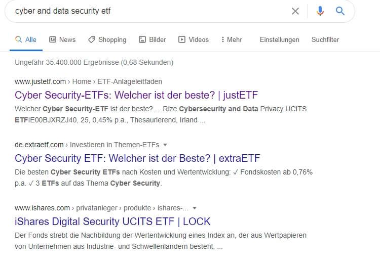 ETFs Unternehmensquelle google